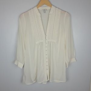 Joie   cream pleated silk peasant blouse